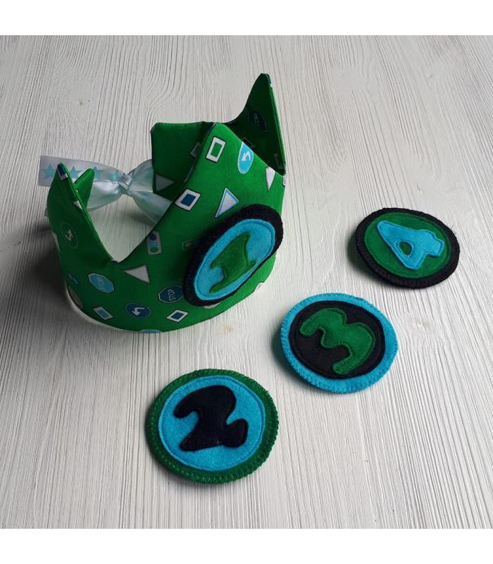 Verjaardagskroon 1 t/m 4 jaar Verkeer groen/blauw