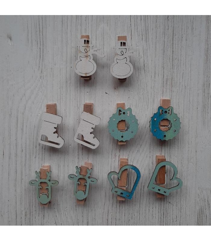 Houten kerstknijpertjes Setje Wit/Blauw (10 stuks)