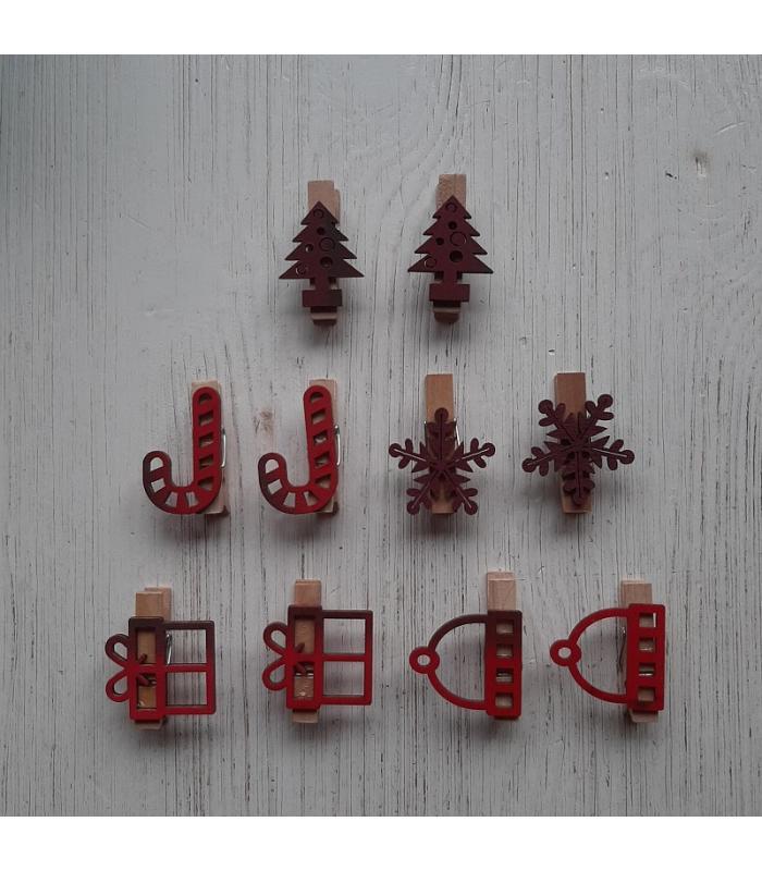 Houten kerstknijpertjes Setje Rood (10 stuks)