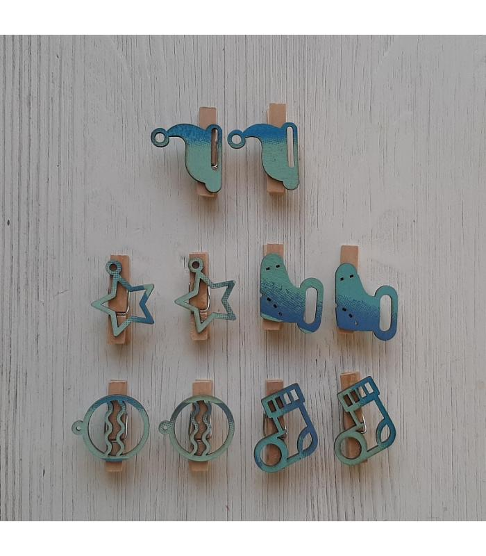 Houten kerstknijpertjes Setje Blauw (10 stuks)