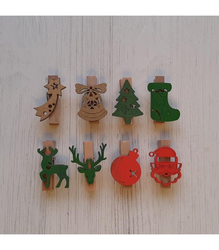 Houten kerstknijpertjes Setje Goud/Groen/Rood (8 stuks)