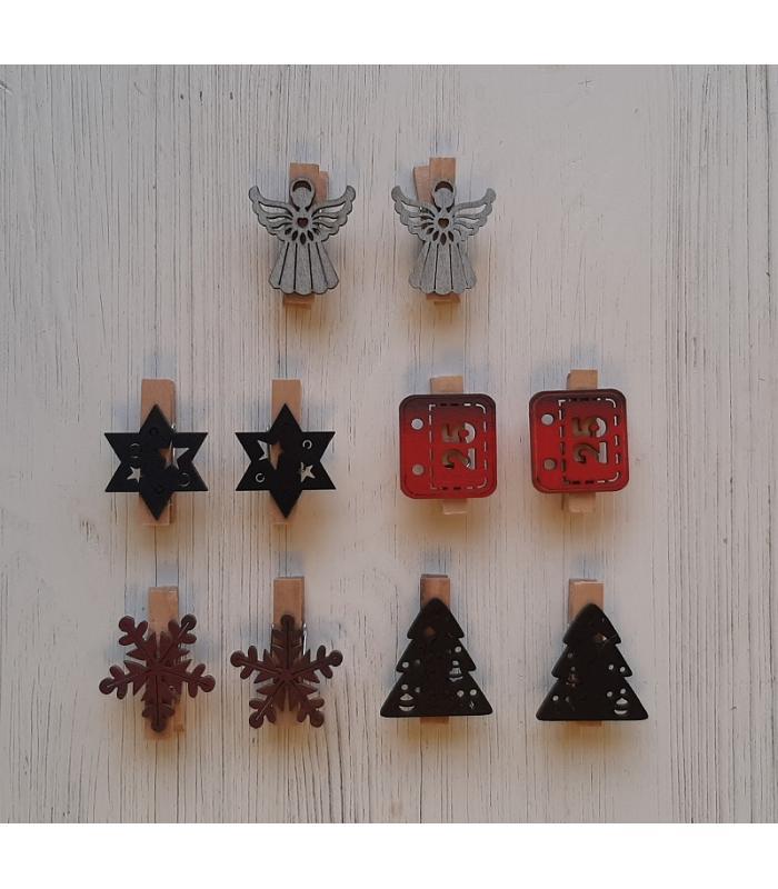 Houten kerstknijpertjes Setje Rood/Zwart/Zilver (10 stuks)