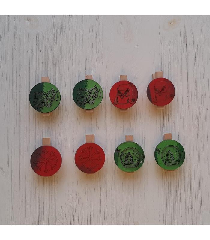 Houten kerstknijpertjes Setje Groen/Rood (8 stuks)