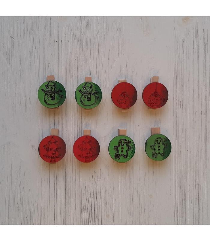Houten kerstknijpertjes Setje Rood/Groen (8 stuks)