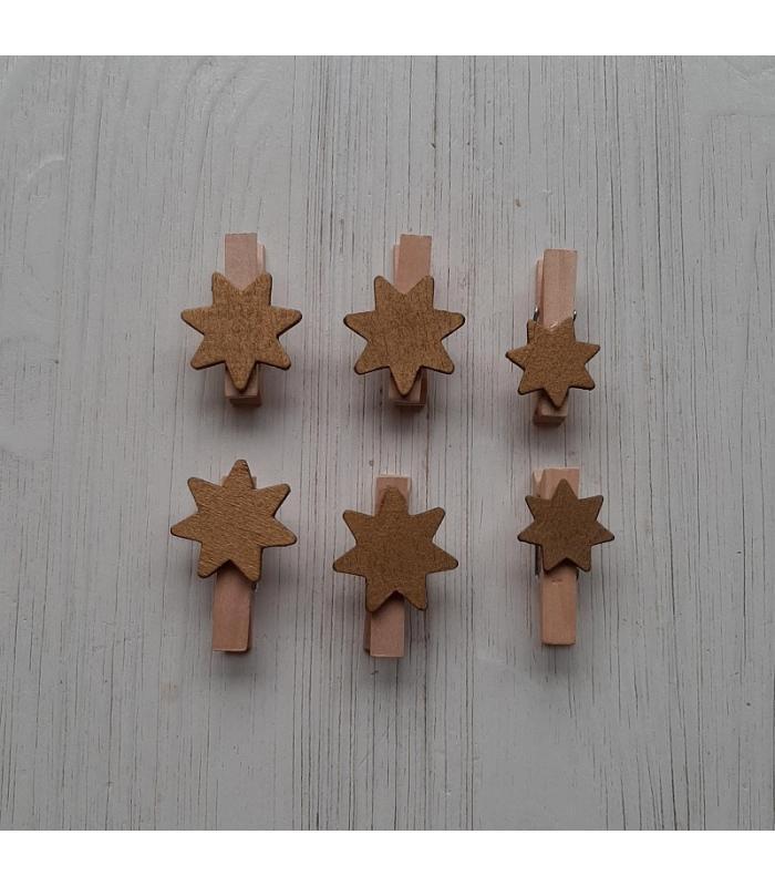 Houten kerstknijpertjes Setje Gouden ster (6 stuks)