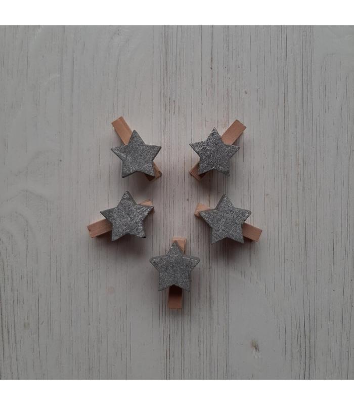 Houten kerstknijpertjes Setje Zilver ster (5 stuks)