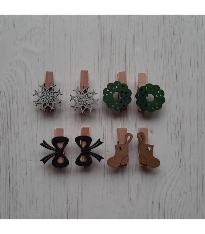 Houten kerstknijpertjes Setje Zilver/Groen/Zwart/Goud (8 stuks)