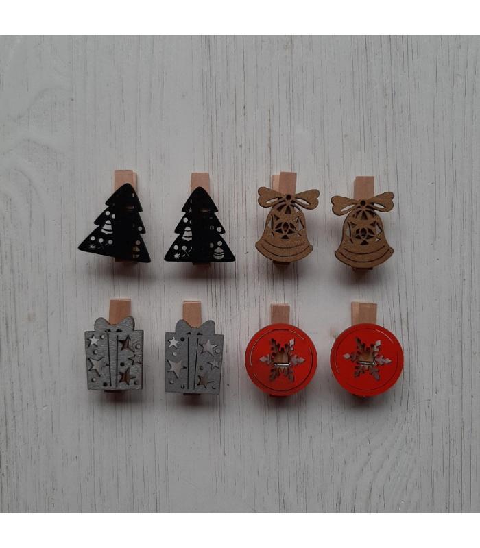 Houten kerstknijpertjes Setje Zwart/Goud/Zilver/Rood (8 stuks)