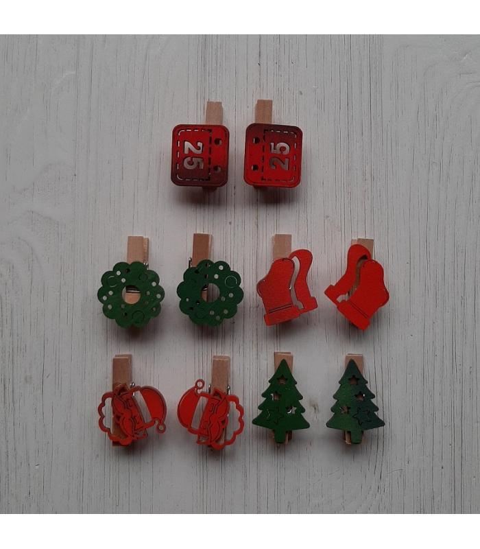 Houten kerstknijpertjes Setje Rood/Groen (10 stuks)