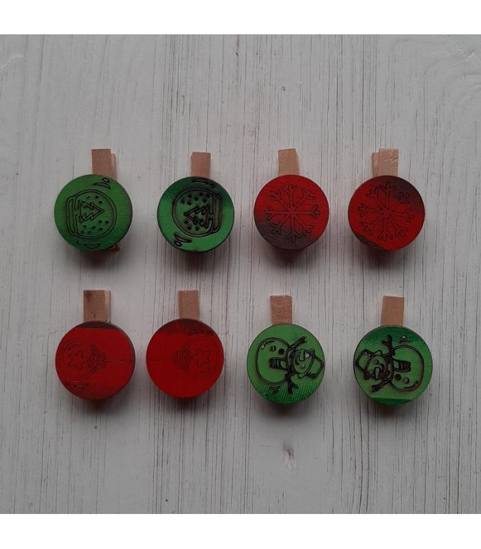 Houten kerstknijpertjes Setje Groen/Rood 1 (8 stuks)