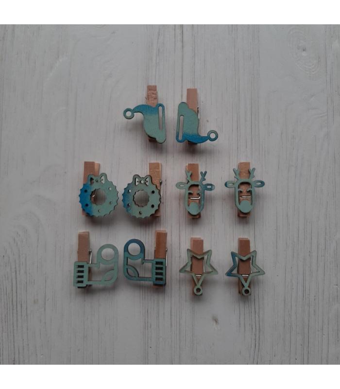 Houten kerstknijpertjes Setje Blauw 1 (10 stuks)