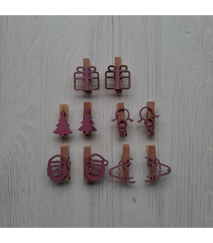 Houten kerstknijpertjes Setje Roze 1 (10 stuks)