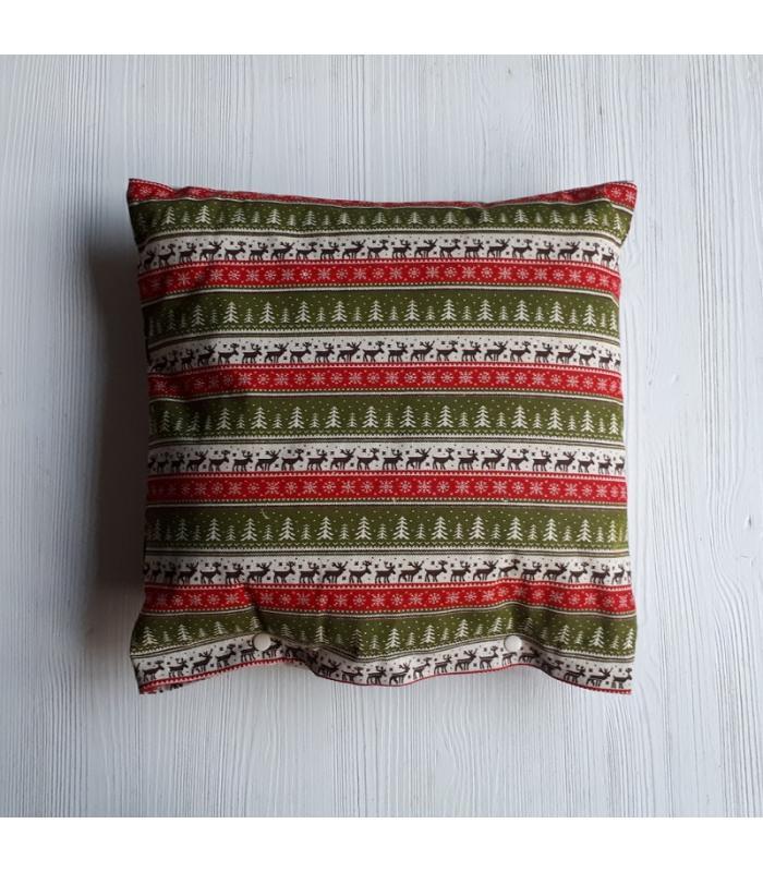 Kussenhoes Kerst Rendier rood groen