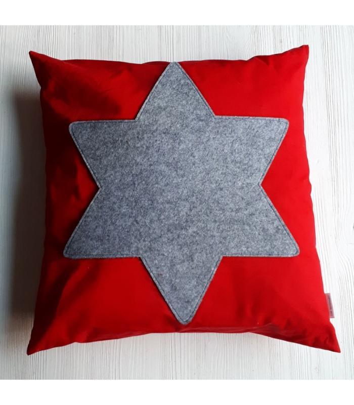 Kussenhoes Kerst Ster Rood Grijs