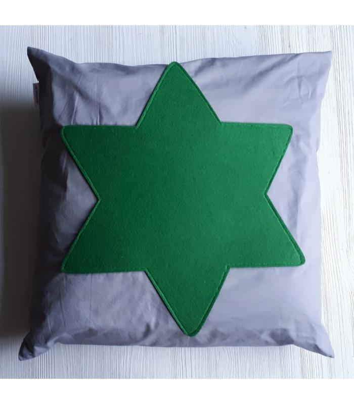 Kussenhoes Kerst Ster Grijs Groen
