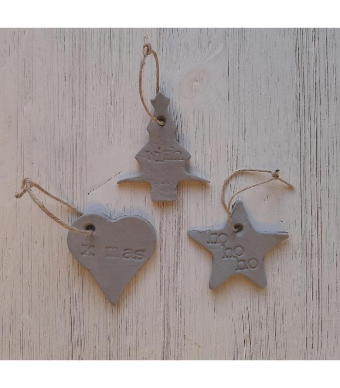 Klei hangers Kerstboom/Hart/Ster