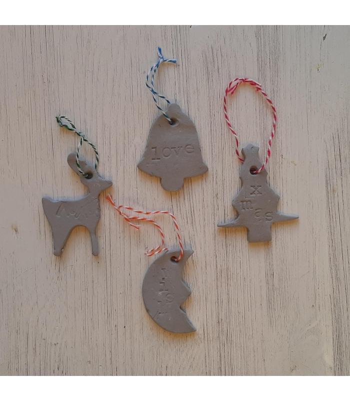 Klei hangers Bel/Rendier/Kerstboom/Maan