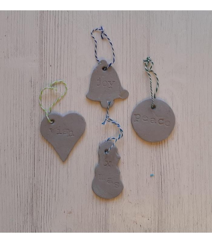 Klei hangers Bel/Hart/Kerstbal/Sneeuwpop