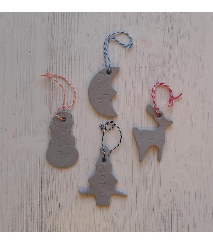 Klei hangers Maan/Sneeuwpop/Rendier/Kerstboom
