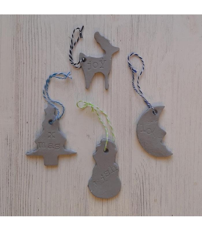 Klei hangers Rendier/Kerstboom/Maan/Sneeuwpop