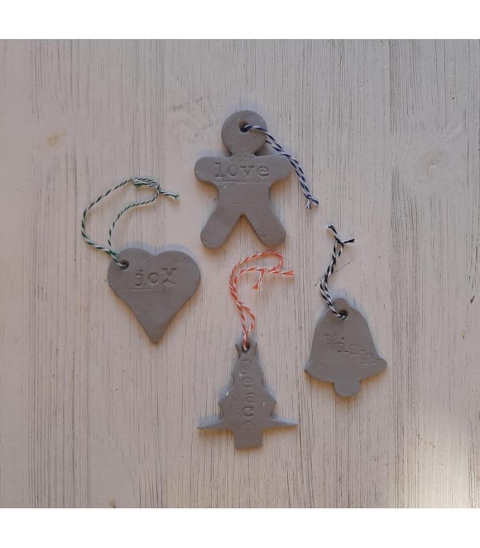 Klei hangers Gingerbread/Hart/Bel/Kerstboom