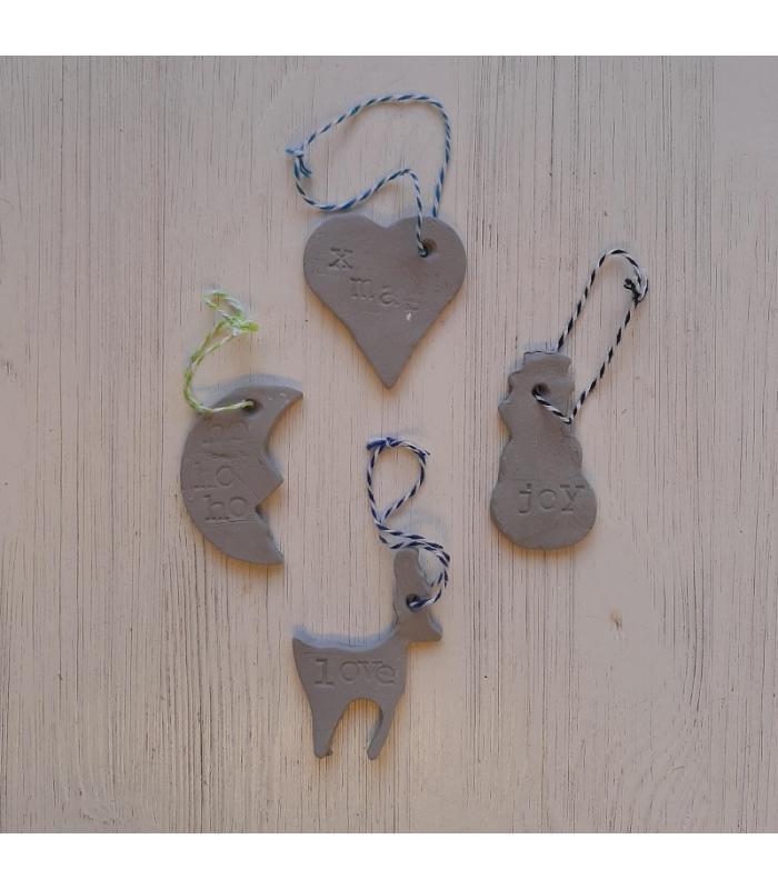 Klei hangers Hart/Maan/Sneeuwpop/Rendier