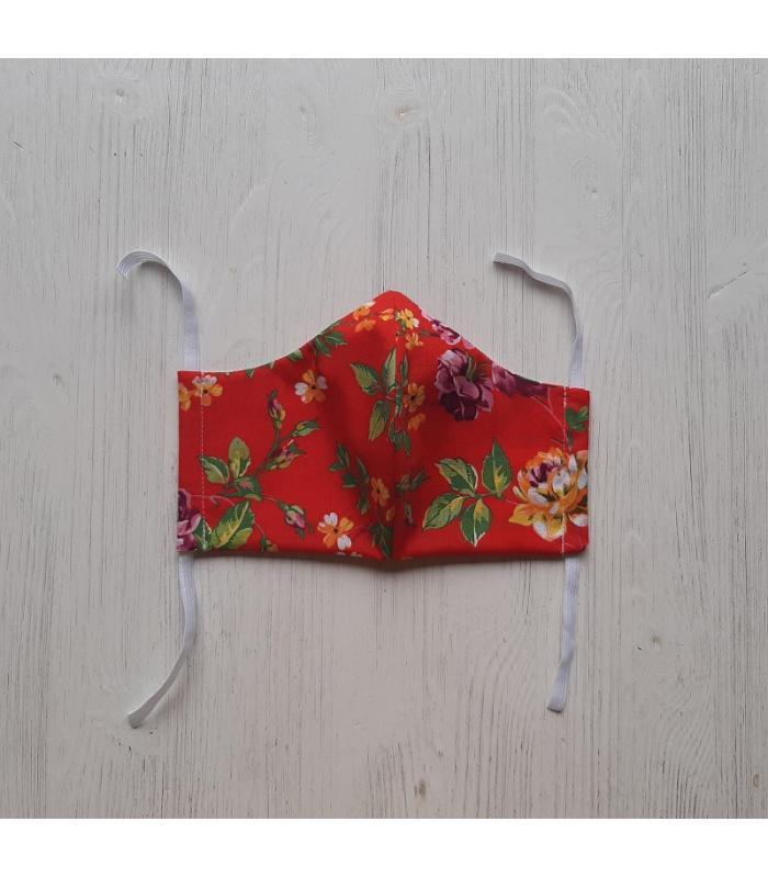 Mondkapje Vrouw Rood Bloemen 1