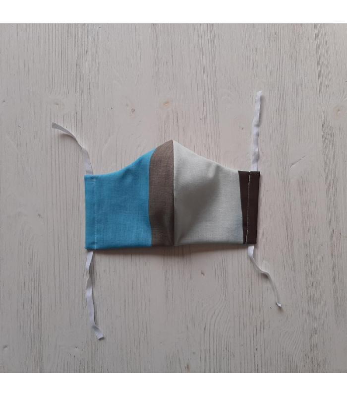 Mondkapje Man Streep Blauw Creme 2