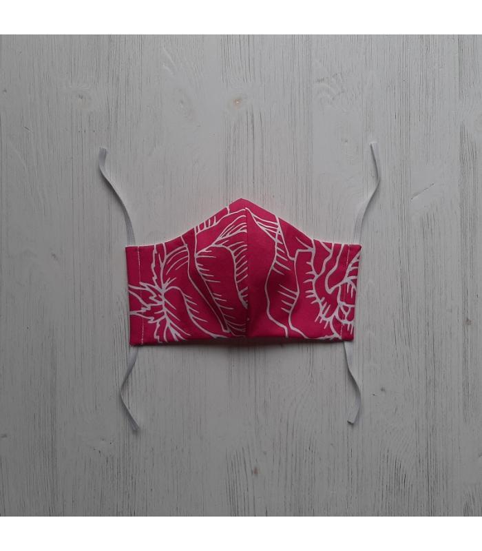 Mondkapje Vrouw Roze witte bloem 2
