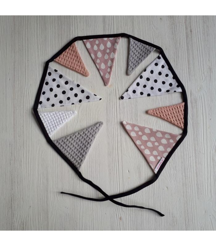 Mini vlaggetjeslijn Grijs / Oud roze