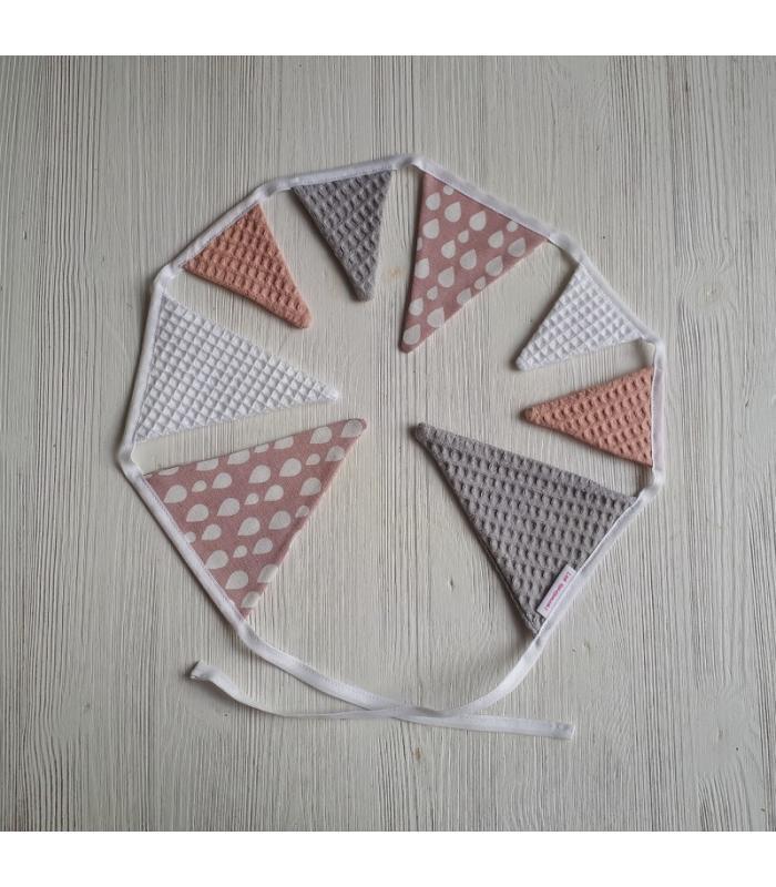 Mini vlaggetjeslijn Oudroze / Wit / Grijs