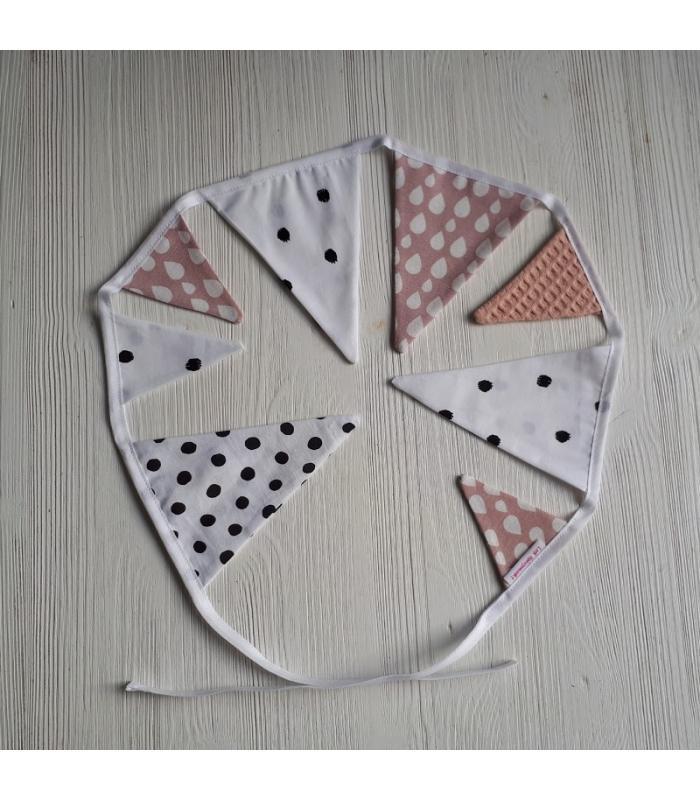 Mini vlaggetjeslijn Wit / Oud roze