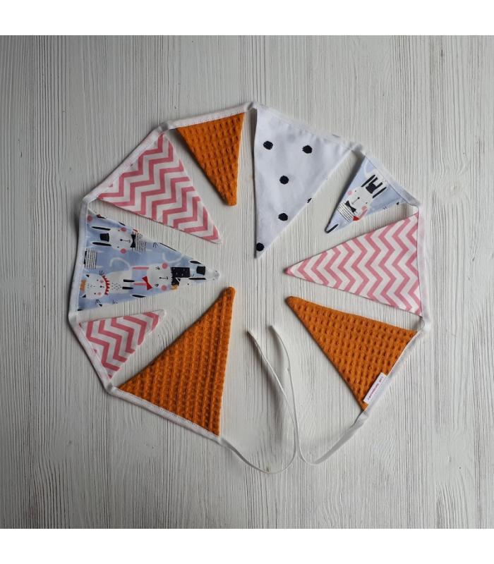 Mini vlaggetjeslijn Kat / Konijn / Oker
