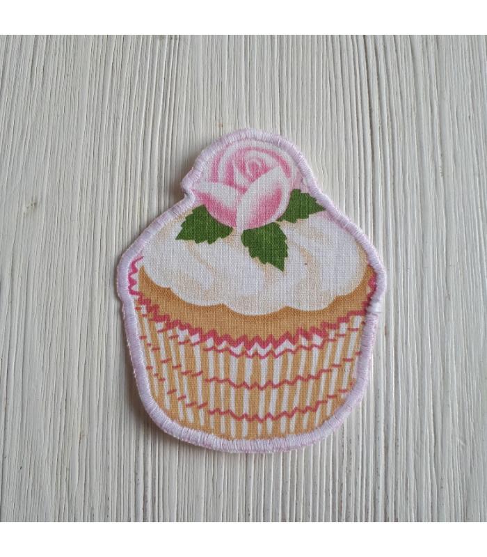 Strijkapplicatie Cup cake roos