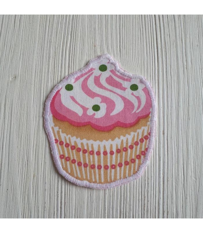 Strijkapplicatie Cup cake Bloem