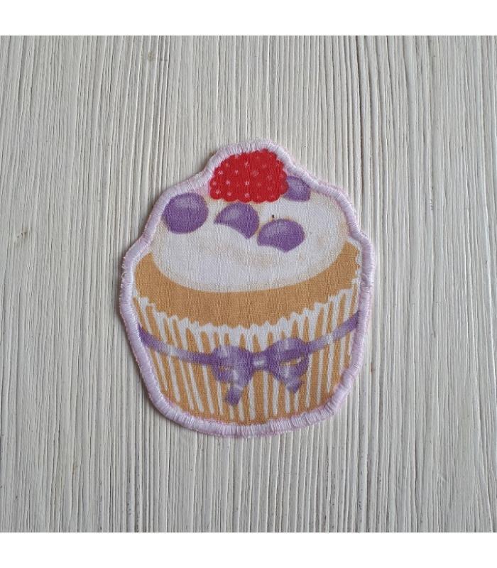 Strijkapplicatie Cup cake Framboos