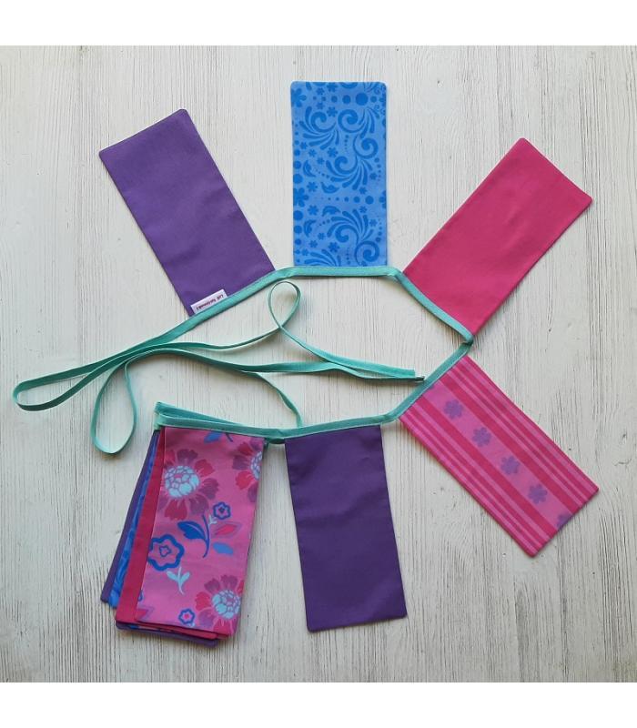 Vlaggetjeslijn Bloemen Paars Roze
