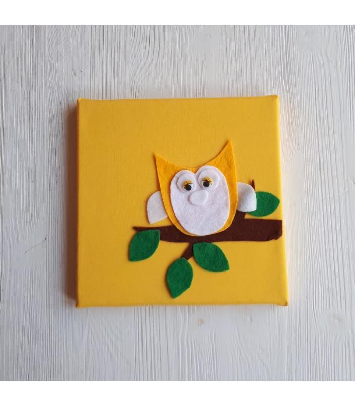 Schilderij Uil geel