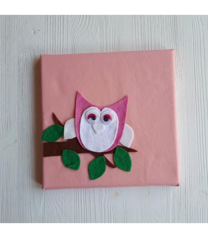 Schilderij Uil roze