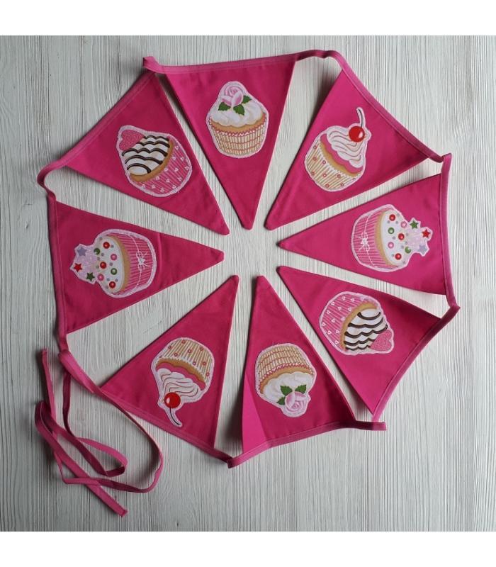 Vlaggetjeslijn Cupcake roze