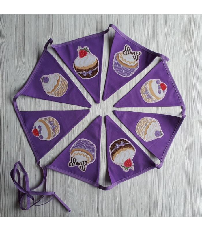 Vlaggetjes Cupcake paars