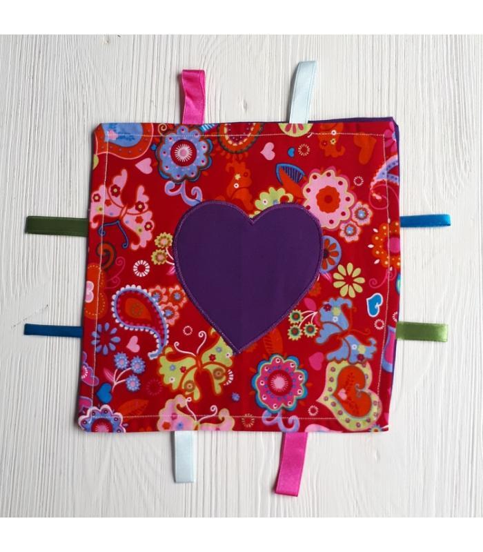 Tutteldoek Hart paars bloem