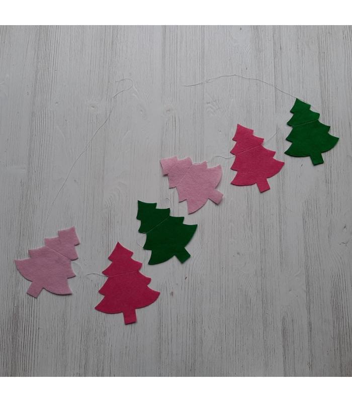 Vilten slinger Kerstboom Roze Groen