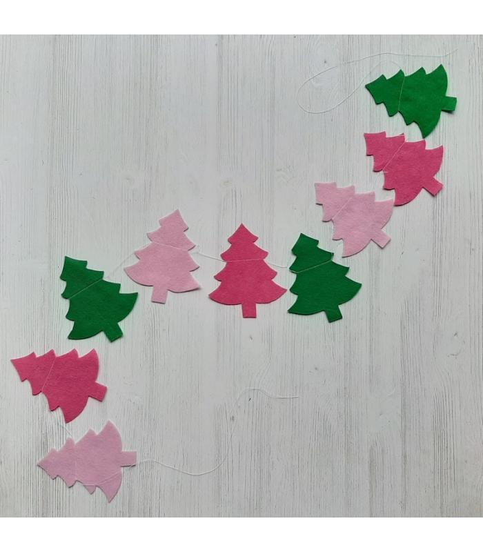 Vilten slinger Kerstboom Groen Roze