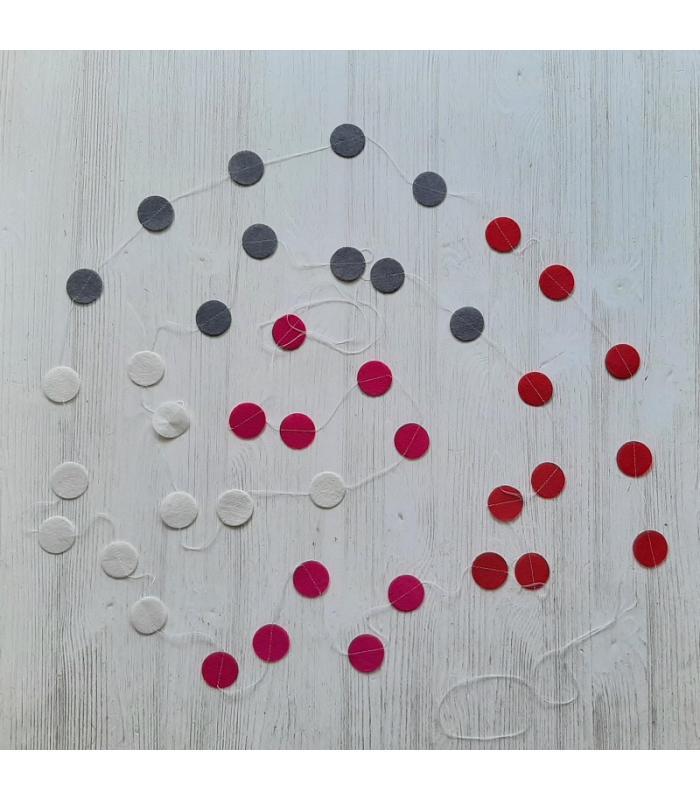 Vilten slinger Roze-Wit-Grijs-Rood