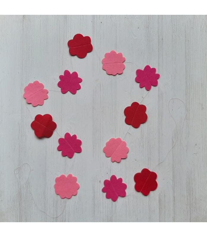 Vilten slinger Bloemen Roze/Rood