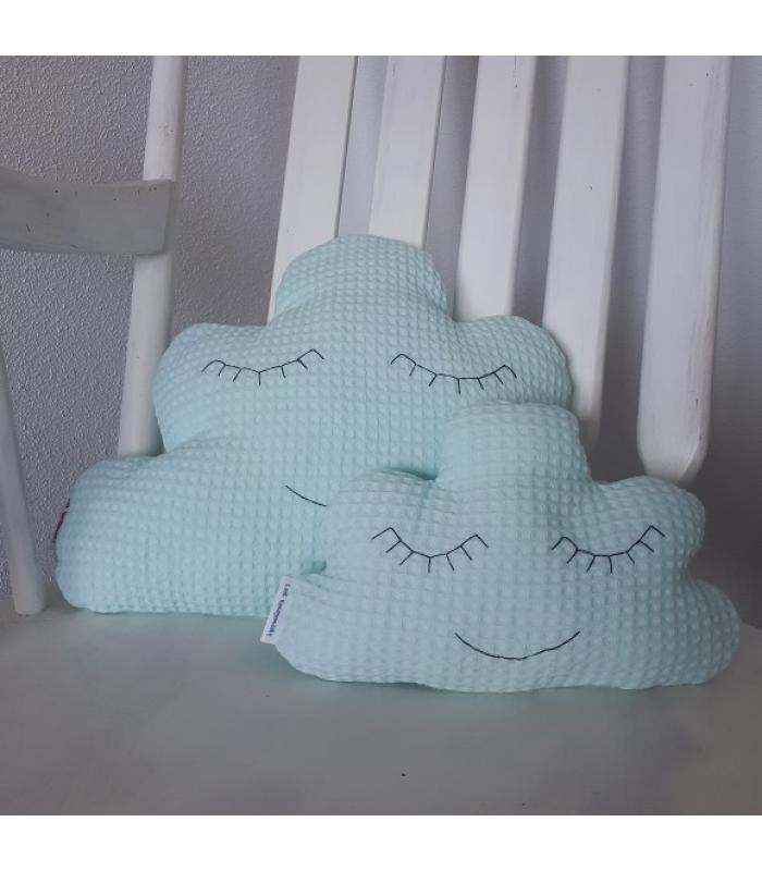Wolkenkussen set Mint wafelstof ogen dicht