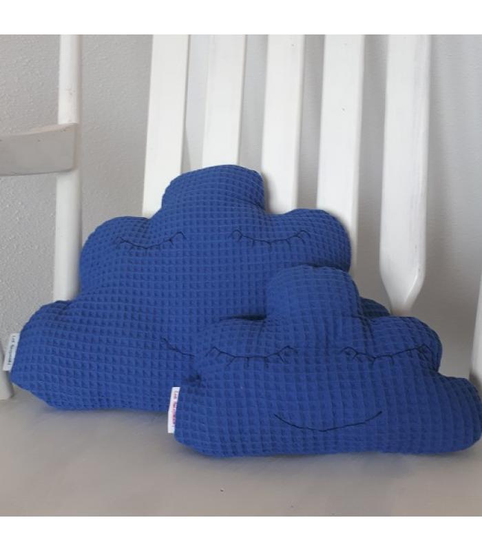 Wolkenkussen set Blauwe wafelstof ogen dicht