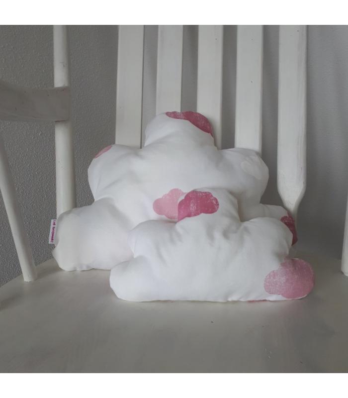 Wolkenkussen set Wit met roze wolkjes