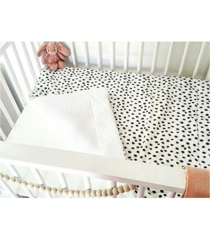 Boxkleed Wit tricot dots / Witte wafelstof